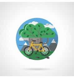 Tree and bike color detailed icon vector