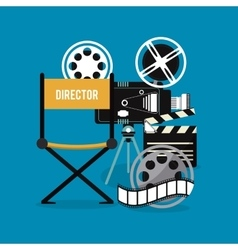Video camera clapboard movie film cinema icon vector