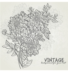 vintage background with flowers dahlias vector image