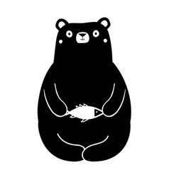 with hungry cartoon bear holding small white fish vector image