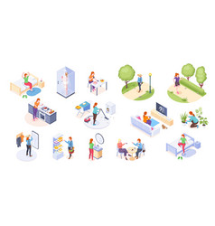 Woman daily life home routine activity isometric vector