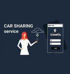 Woman downloading online mobile app rent car vector