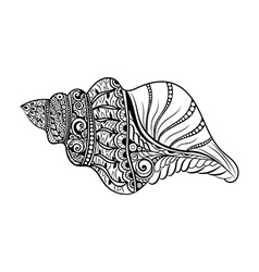 Zentangle stylized black sea cockleshell vector