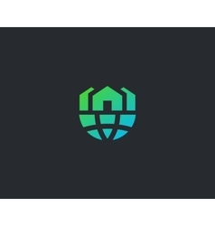 Abstract house globe logo design template Earth vector image vector image