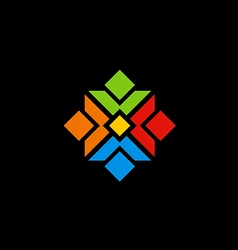 colorful abstract geometry logo vector image