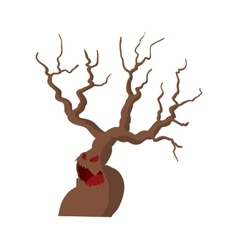 Halloween scary tree icon cartoon style vector image