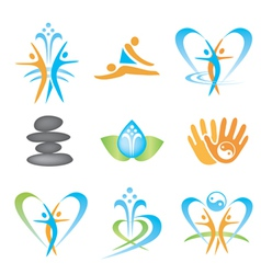 Spa massage health icons vector image
