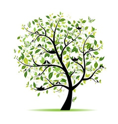 Spring tree green with birds for your design vector image vector image