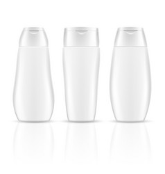 White blank shampoo bottles cosmetic container vector image