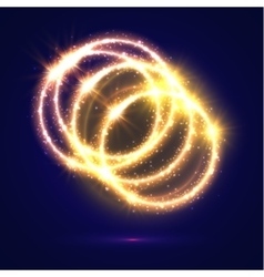 Abstract circles of golden light flashes sparkles vector