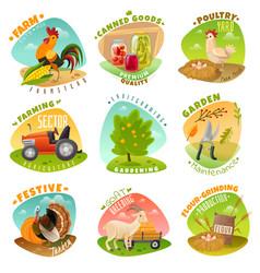 farm emblems set vector image