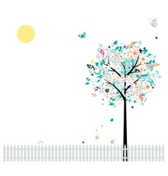 Floral tree beautiful for your design birds on fen vector image vector image