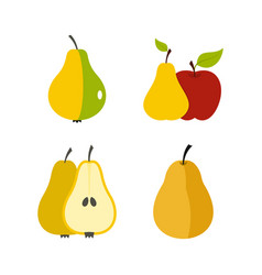 pear icon set flat style vector image