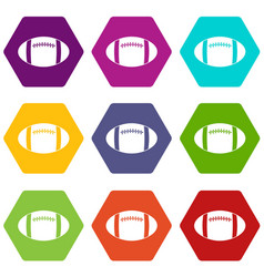 rugby ball icon set color hexahedron vector image vector image