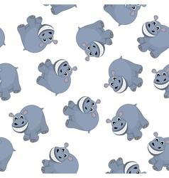 Samless Funny Cartoon Hippo vector image