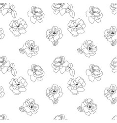 seamless black and white rose pattern flower vector image vector image