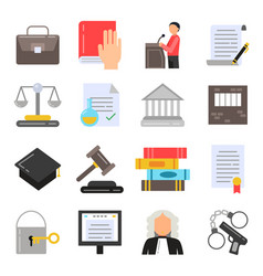 symbols of legal regulations juridical icons set vector image