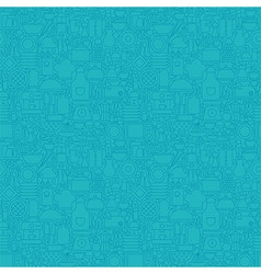 Thin Line Blue Kitchenware and Cooking Seamless vector image