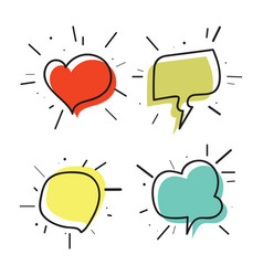 hand drawn thought and speech bubbles03 vector image