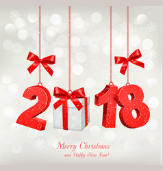 new year holiday background with a 2018 and a vector image vector image