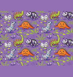 Seamless pattern with cartoon dinosaurs in vector