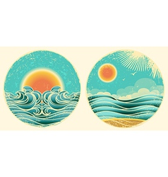Vintage nature seascape background with sunlight vector image vector image