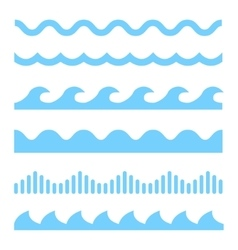 blue wave icons set vector image