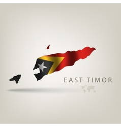 Flag of EAST TIMOR as a country with a shadow vector image
