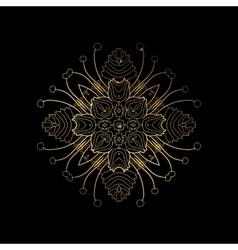 Golden floral lines frame vector image vector image