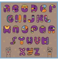 Hipster Alphabet Funny purple and orange letters vector image vector image
