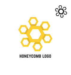 honeycomb yellow logo like sun vector image vector image