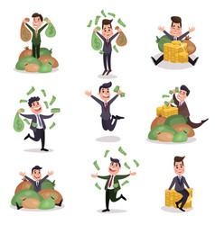 rich wealthy happy millionaire characters enjoying vector image