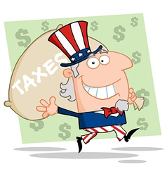 Uncle Sam Carrying A Taxes Bag vector image vector image
