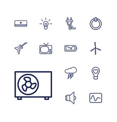 13 electric icons vector