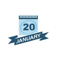 20 january calendar with ribbon vector