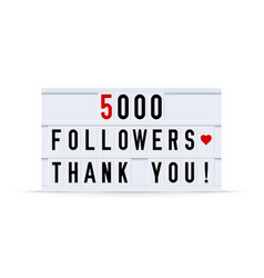 5000 followers thank you text in a vintage light vector