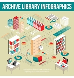 Archive Library Isometric Infographic Flowchart vector