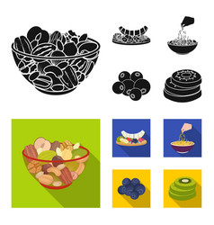 assorted nuts fruits and other food food set vector image