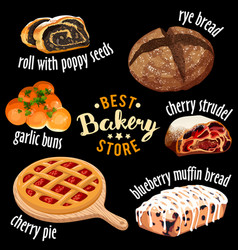 bakery shop icons baked sweets icons vector image
