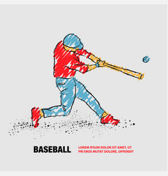 Baseball player hit ball outline baseball vector