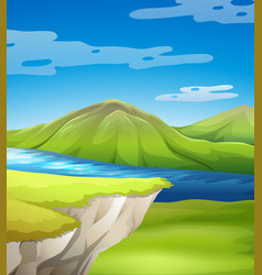 Beautiful cliff scene with lake vector