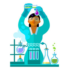 beautiful young woman scientist working in the vector image