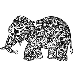 Black and white hand drawn doodle elephant vector