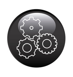 black circular frame with pinions set icon vector image