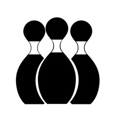 Black icon bowling pins cartoon vector