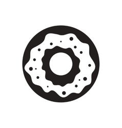 black icon on white background donut with vector image