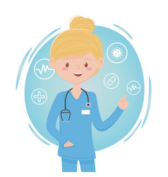 Blonde physician female medical staff professional vector