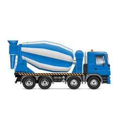 Blue concrete mixer truck vector