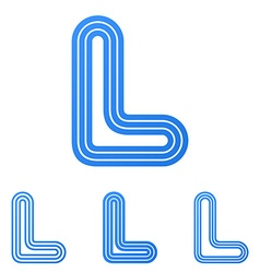 Blue line l logo design set vector