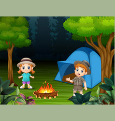 boys and girls standing around a campsite vector image